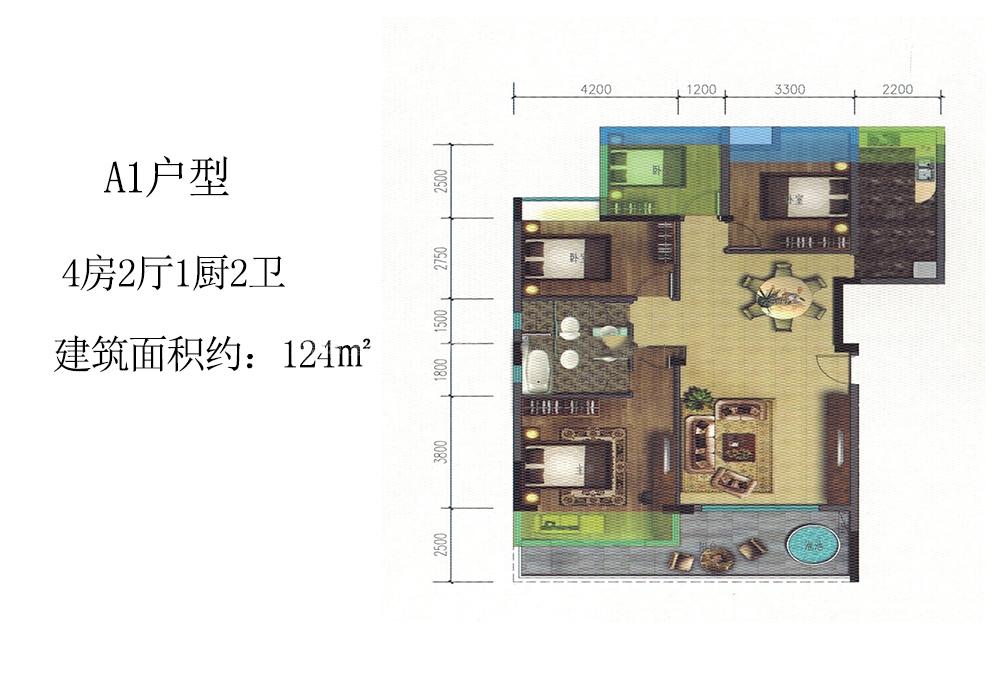 A1户型 4房2厅1厨2卫 建筑面积124㎡