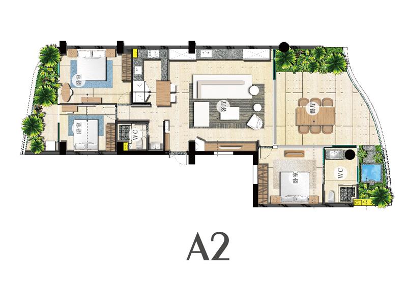 A2户型-三房两厅两卫-建筑面积153㎡