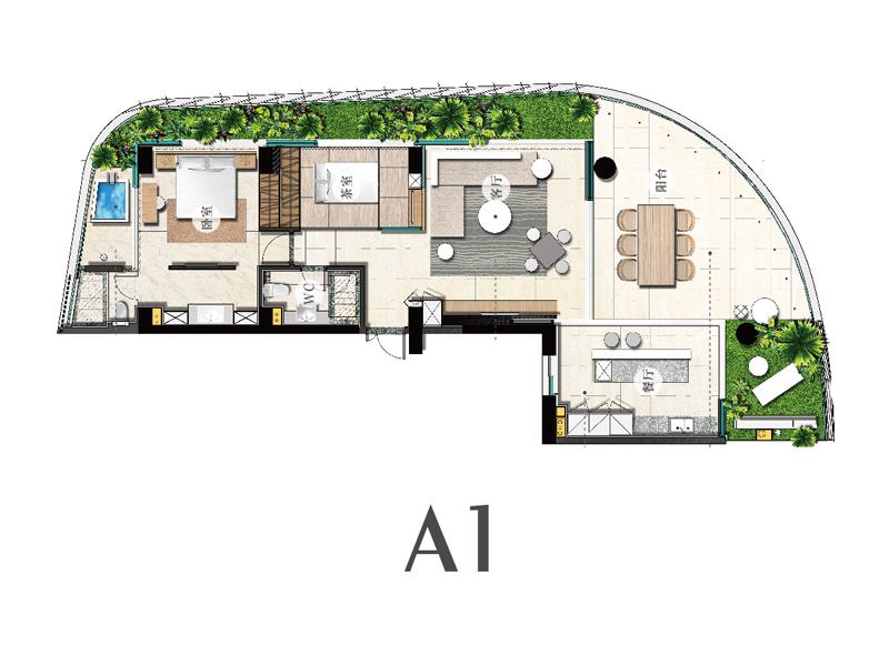 A1户型-两室两厅两卫-建筑面积140㎡