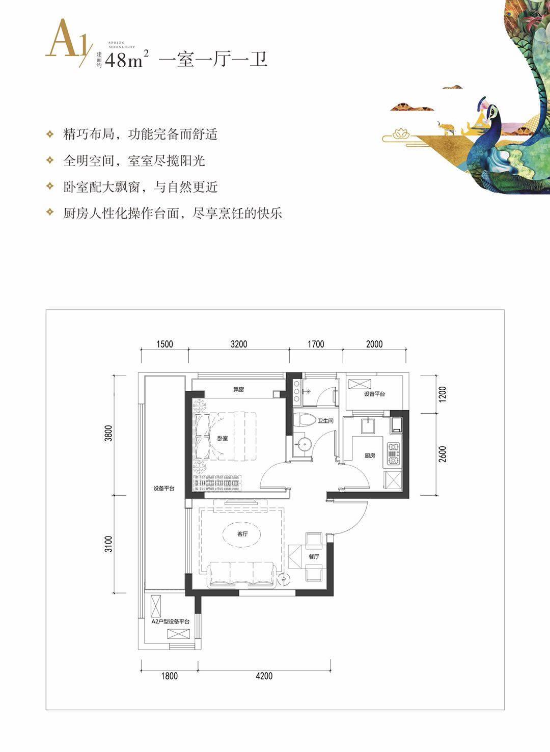 A1户型 1室1厅1卫 建筑面积48.00㎡