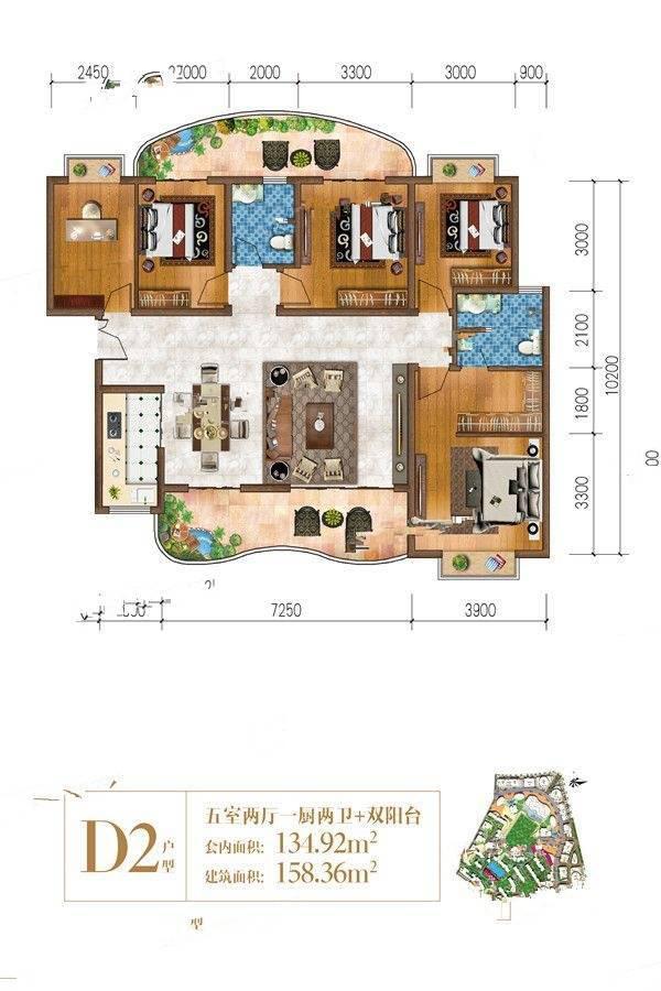 D2-01 5室2廳2衛建筑面積:158㎡
