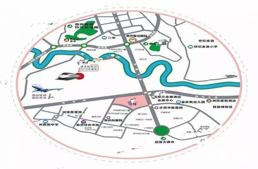西雙版納曼城交通圖