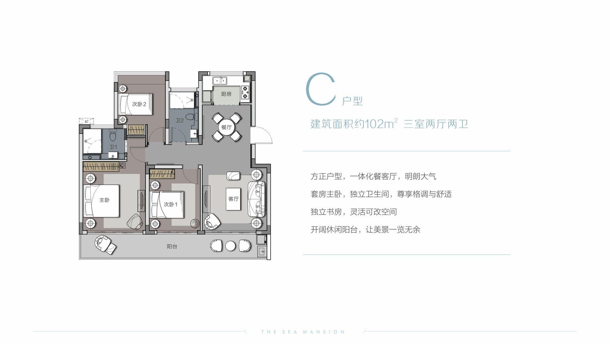 嘉鹏未来海岸C户型图 3室2厅2卫1厨  建筑面积102㎡
