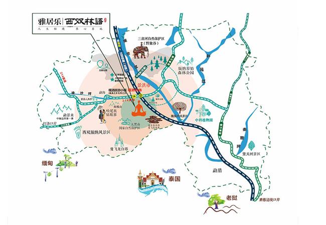 雅居乐西双林语交通图