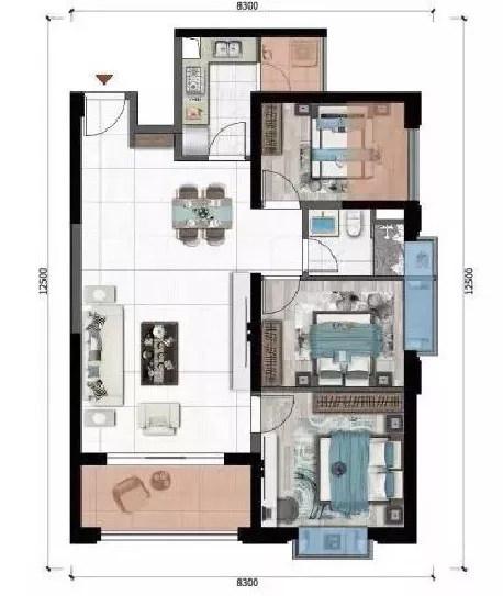 俊发彩云城A3户型图 建筑面积108㎡ 3室2厅1卫1厨