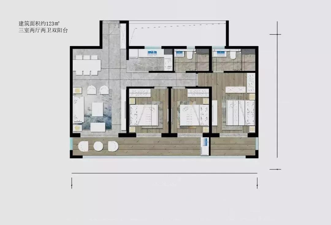 巫家坝金茂广场建筑面积约123㎡户型 3室2厅2卫