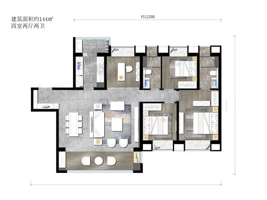 巫家坝金茂广场建筑面积约144㎡户型 4室2厅2卫