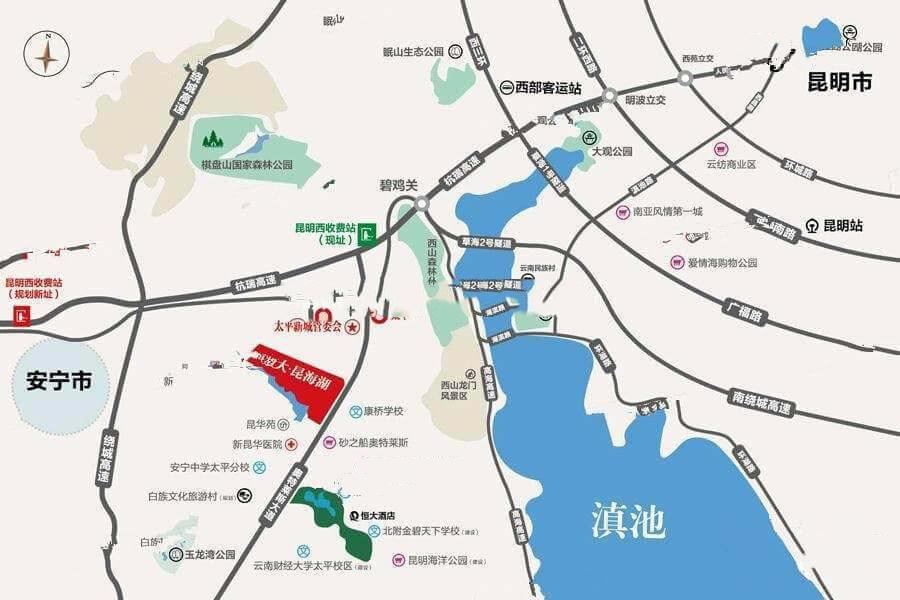 恒大昆海湖区位图